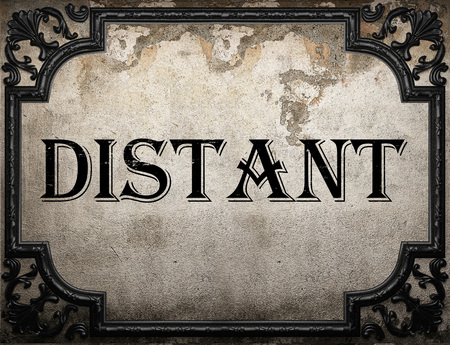 distant: distant word on concrette wall Stock Photo