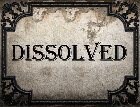 dissolved: dissolved word on concrette wall Stock Photo