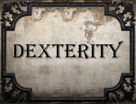 dexterity: dexterity word on concrette wall