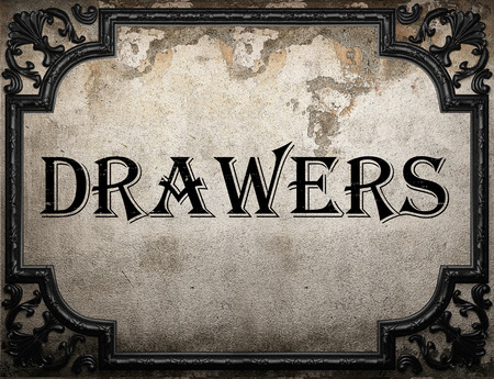 drawers: drawers word on concrette wall