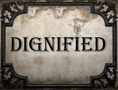 dignified: dignified word on concrette wall