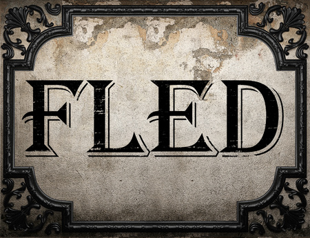 fled: fled word on concrette wall