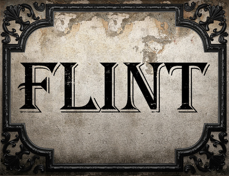flint: flint word on concrette wall Stock Photo