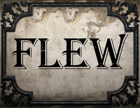 flew: flew word on concrette wall Stock Photo