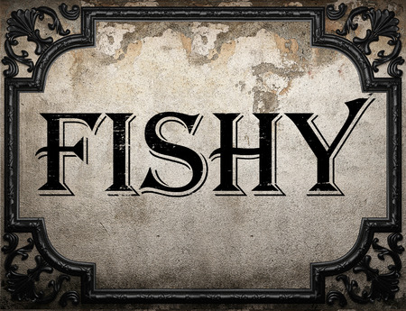 fishy: fishy word on concrette wall Stock Photo