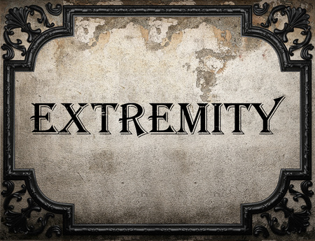 extremity: extremity word on concrette wall Stock Photo