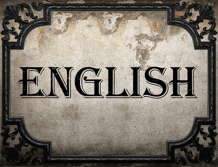 english word: English word on concrette wall Stock Photo