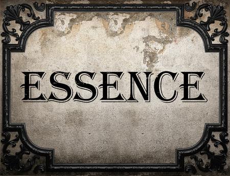 essence: essence word on concrette wall