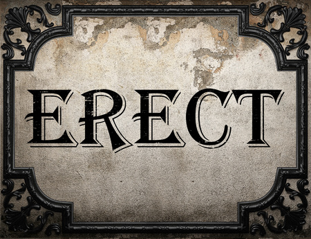 erect: erect word on concrette wall