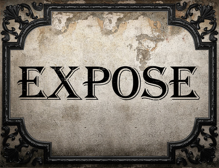 expose: expose word on concrette wall