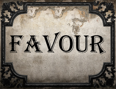 favour: favour word on concrette wall Stock Photo