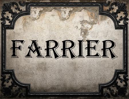 farrier: farrier word on concrette wall Stock Photo
