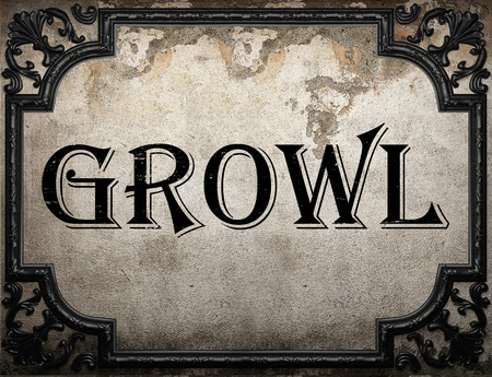 growl: growl word on concrette wall