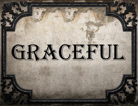 graceful: graceful word on concrette wall