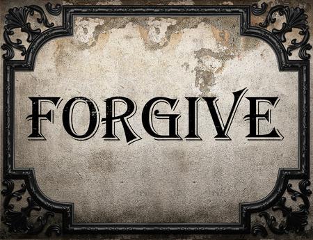perdonar: perdone la palabra en la pared concrette