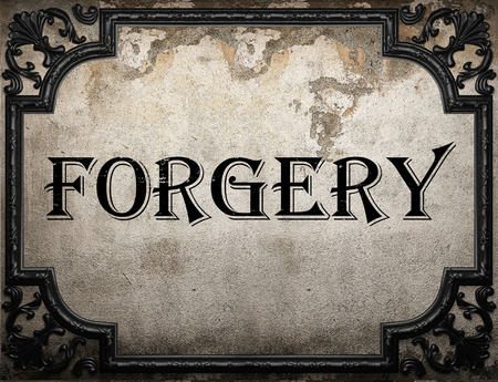 forgery: forgery word on concrette wall Stock Photo