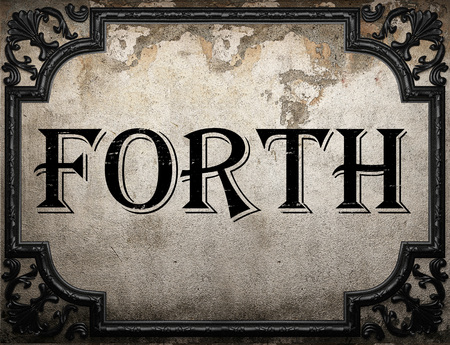 forth: forth word on concrette wall Stock Photo