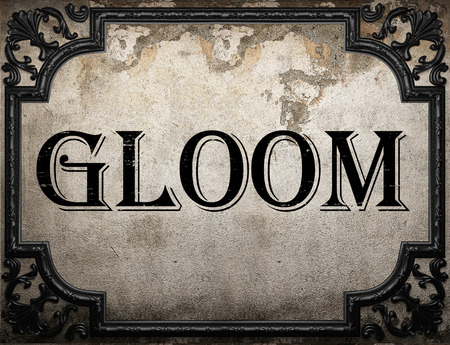 gloom: gloom word on concrette wall