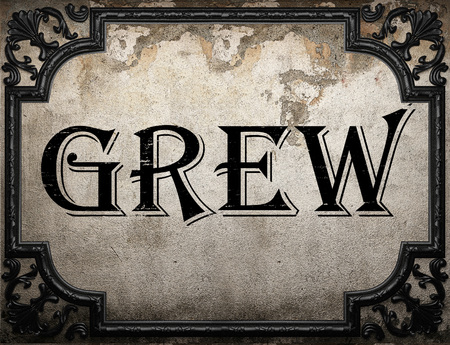 grew: grew word on concrette wall Stock Photo
