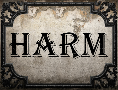 harm: harm word on concrette wall Stock Photo