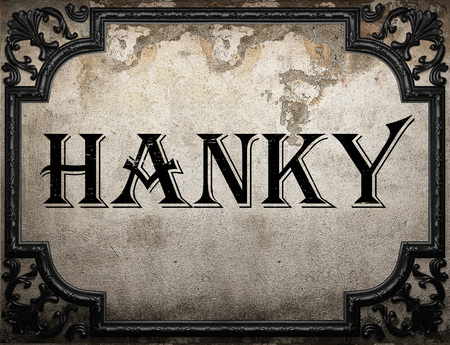 hanky: hanky word on concrette wall Stock Photo