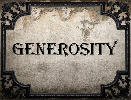 generosity: palabra generosidad en la pared concrette Foto de archivo