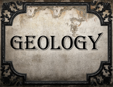 geology word on concrette wall