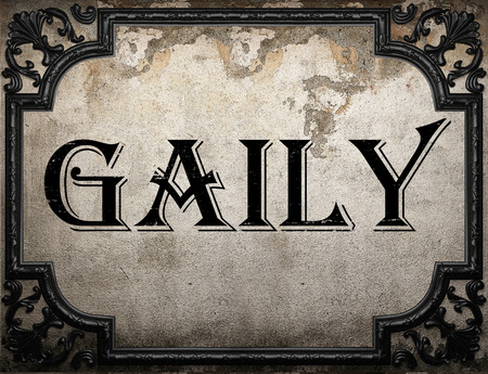 gaily: gaily word on concrette wall Stock Photo