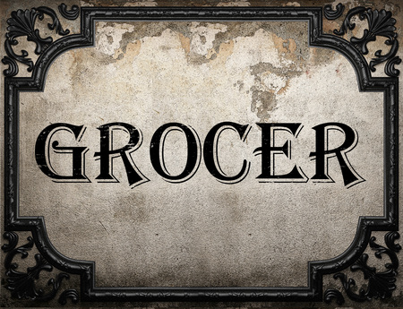grocer: grocer word on concrette wall