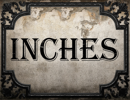inches: inches word on concrette wall