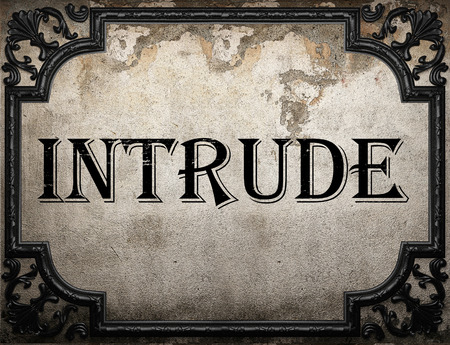 intrude: intrude word on concrette wall Stock Photo