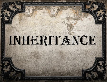inheritance: inheritance word on concrette wall Stock Photo