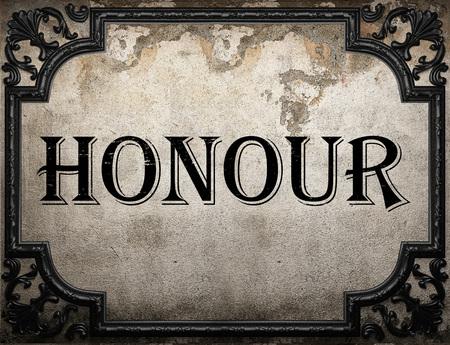 honour: honour word on concrette wall Stock Photo