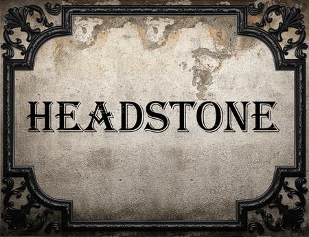 headstone: headstone word on concrette wall