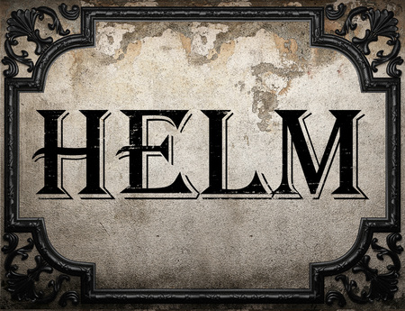 helm: helm word on concrette wall Stock Photo