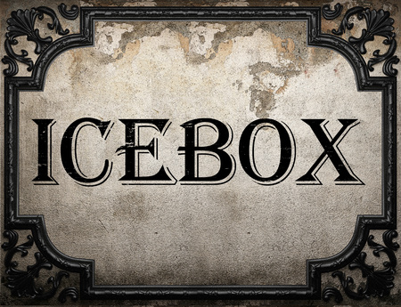 icebox: icebox word on concrette wall