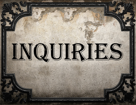 inquiries: inquiries word on concrette wall Stock Photo