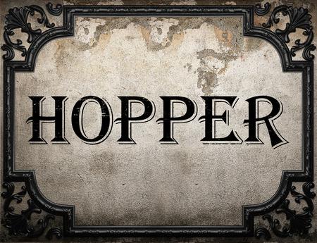 hopper: hopper word on concrette wall