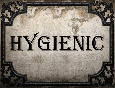 hygienic: hygienic word on concrette wall Stock Photo