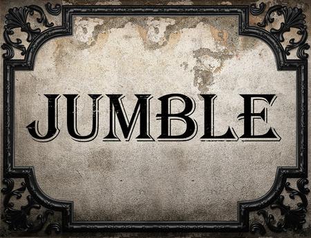 jumble: jumble word on concrette wall Stock Photo