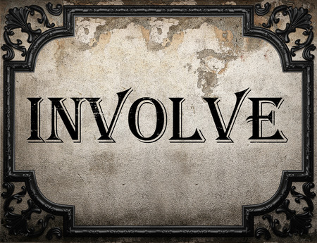 involve: involve word on concrette wall Stock Photo