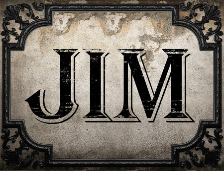 jim: jim word on concrette wall Stock Photo