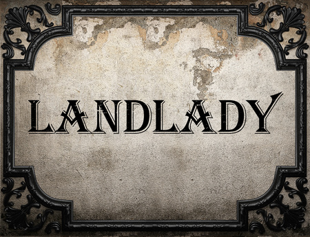 landlady: landlady word on concrette wall
