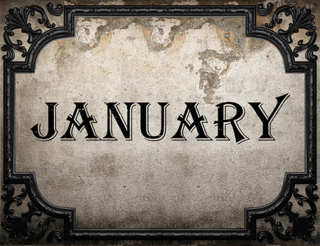 January word on concrette wall Stock Photo