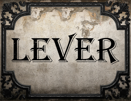 lever: lever word on concrette wall Stock Photo