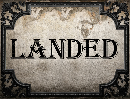 landed: landed word on concrette wall Stock Photo