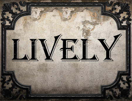 lively: lively word on concrette wall Stock Photo