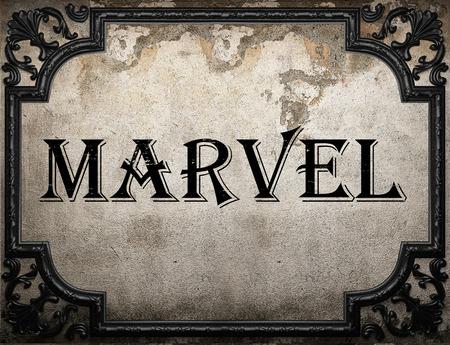 marvel: marvel word on concrette wall