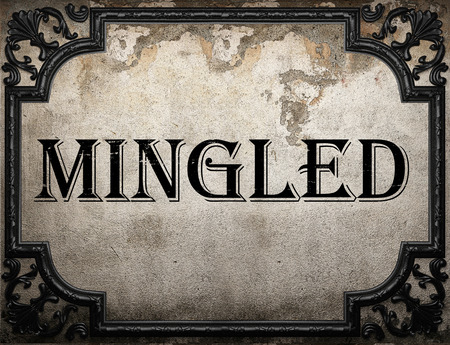 mingled: mingled word on concrette wall Stock Photo