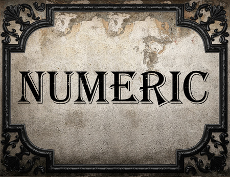 numeric: numeric word on concrette wall Stock Photo